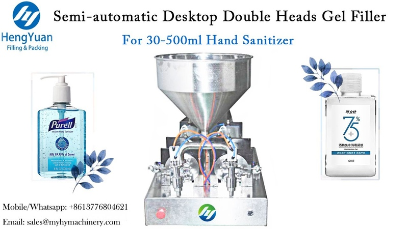 Hand Saniizer Filling Machine Semi automatic Desktop Double Heads Gel Filler