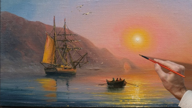 Sunset Sea Oil Painting Art Вечернее море Пейзаж маслом Ölgemälde Kunst Pintura al óleo 藝術