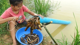 Believe This Fishing? Unique Eels Trapping System Make From PVC | New Technique Of Beautiful Girl