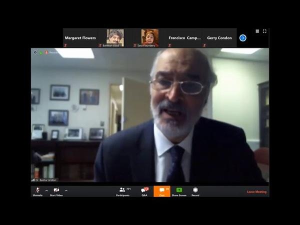 مداخلة السفير د. بشار الجعفري في ندوة حول العقوبات الاقتصادية الأمريكية 9 5 2020