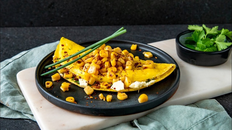 Corn Feta Omelet With Chives
