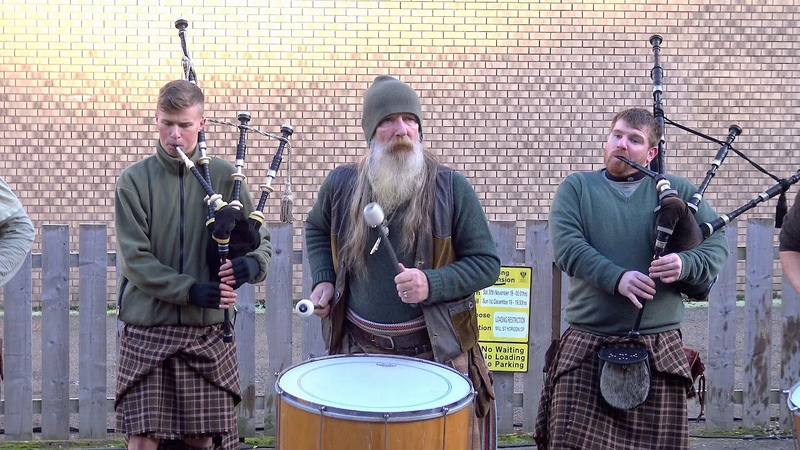 Scottish tribal pipes drums band Clanadonia playing Ya Bassa during St Andrew's Day event 2019
