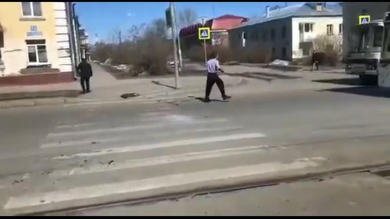 В Кемерово мужик с лопатой словил белочку и расфигачил два автобуса Весна