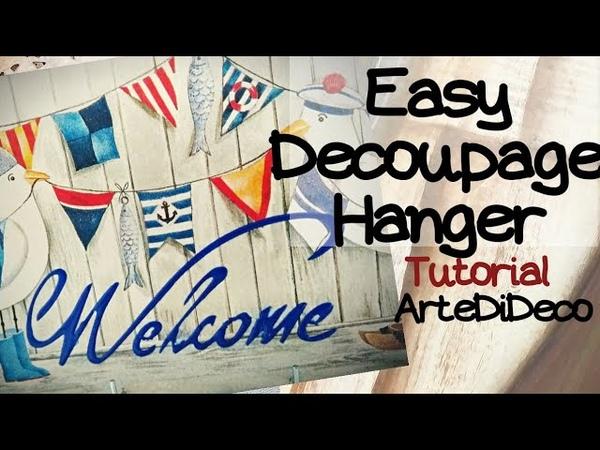 Decoupage easyHanger!Εύκολο καδράκικρεμάστρα με χαρτοπετσέτα χωρίς κόλλα ντεκουπάζ! ArteDiDeco[CC]