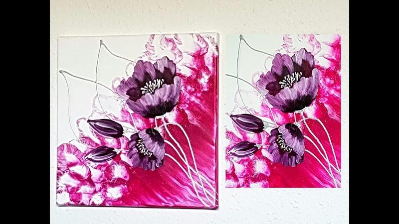 Blumen Malen Acryl kombiniert Fließtechnik - Flowers Acrylic Painting combined Fluid Painting