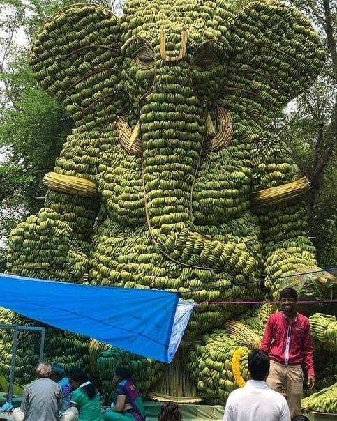 Слон сделанный из бананов (источник: gofazenda)