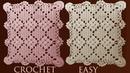 Como tejer a crochet tapete camino de mesa punto abanicos cuadrados en relieve tejido con ganchillo