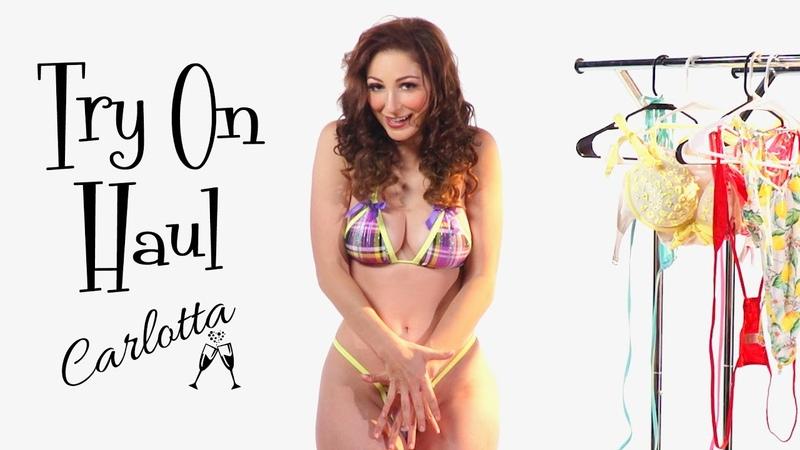 Micro bikini and swimsuit try on haul Carlotta's most scandalous