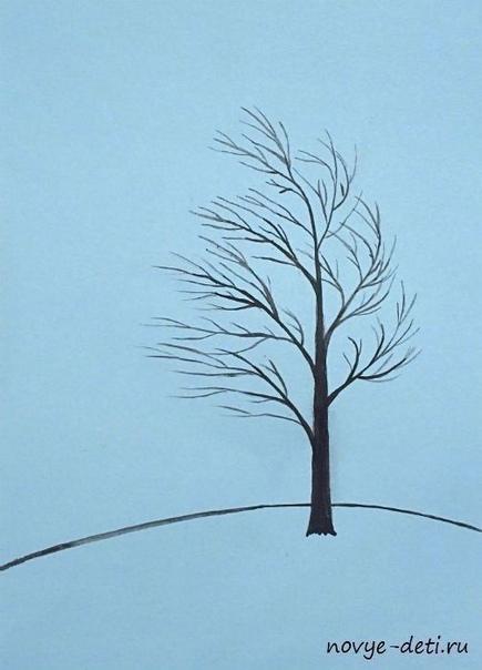 АППЛИКАЦИЯ ОСЕННИЙ ВЕТЕР Что нам нужно:ПшеноКраски и тонкая кистьПлотная бумага или картон голубого цветаКлей ПВАКак делать:На голубом картоне красками нарисовали дерево и горку. А пшено,