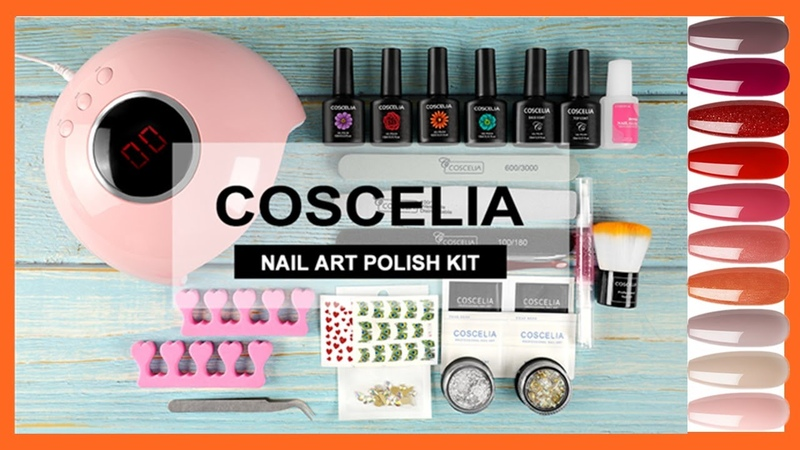 ✨ COSCELIA Gel Polish - With Nail Lamp and Top Base Coat - For Starter ✨