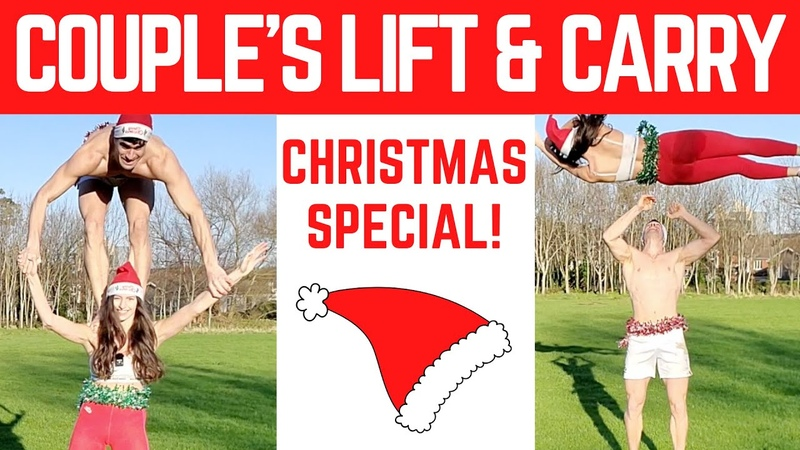 COUPLES LIFT AND CARRY CHALLENGE CHRISTMAS SPECIAL VLOG Shoulder ride Piggy back challenge