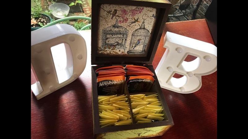 Caja para té con Decoupage y Resina