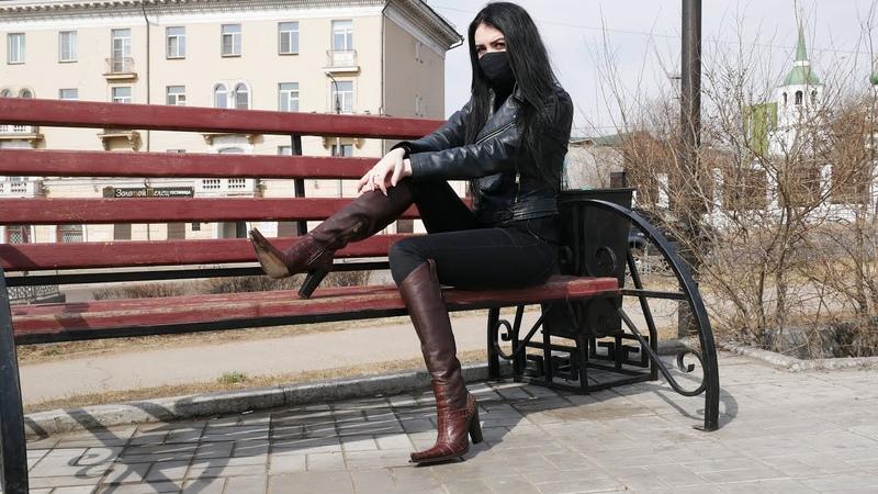 Nana's Gianmarco Lorenzi pointed toe high hees brown leather western boots Size EU 36 US 6 5