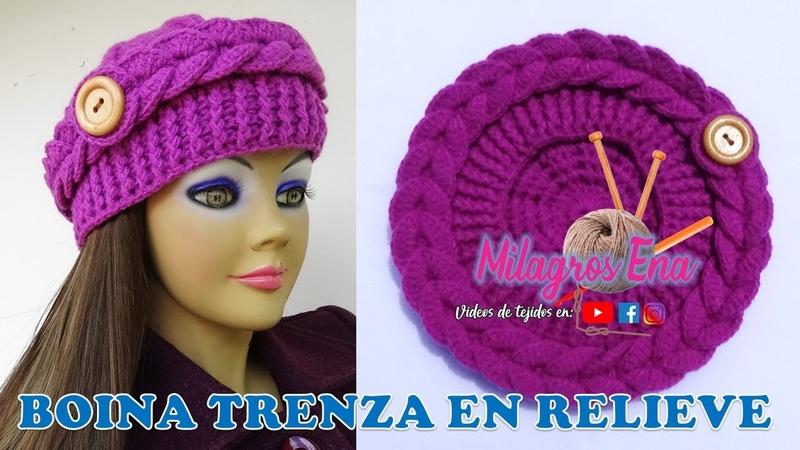 Como hacer Boina en punto trenza en relieve tejida a crochet paso a paso para diferentes edades.