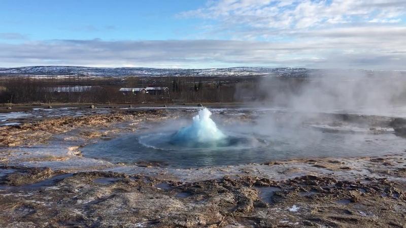 Извержение гейзера Строккур Geyser Strokkur Iceland