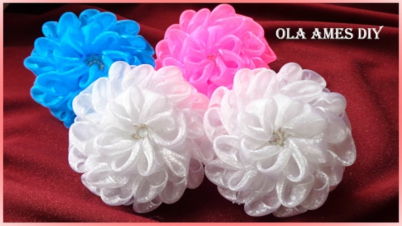 Пышные цветы банты 11 см из органзы Канзаши DIY Ribbon Flowers Flores de organza Ola ameS DIY