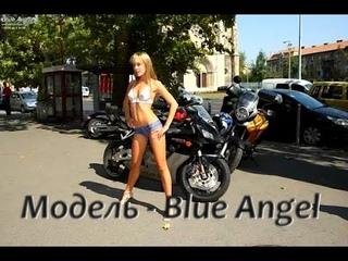БОДИ-АРТ Модель - Blue Angel Девушка полностью голая ходит по улицам города