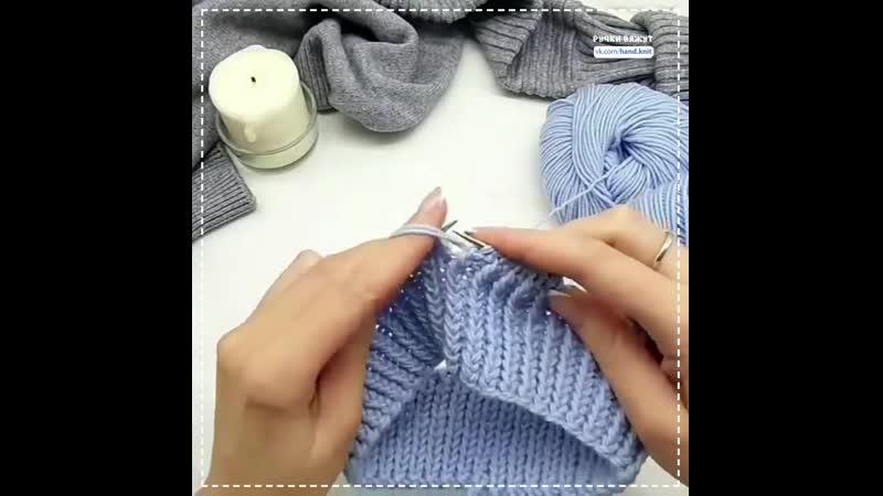 Резинка со скрещенными лицевыми петлями для голубой шапки Вязание