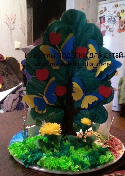 РАБОТА от нашей подписчицы Ольги Панфиловой Поделка в садик Дерево Времена года