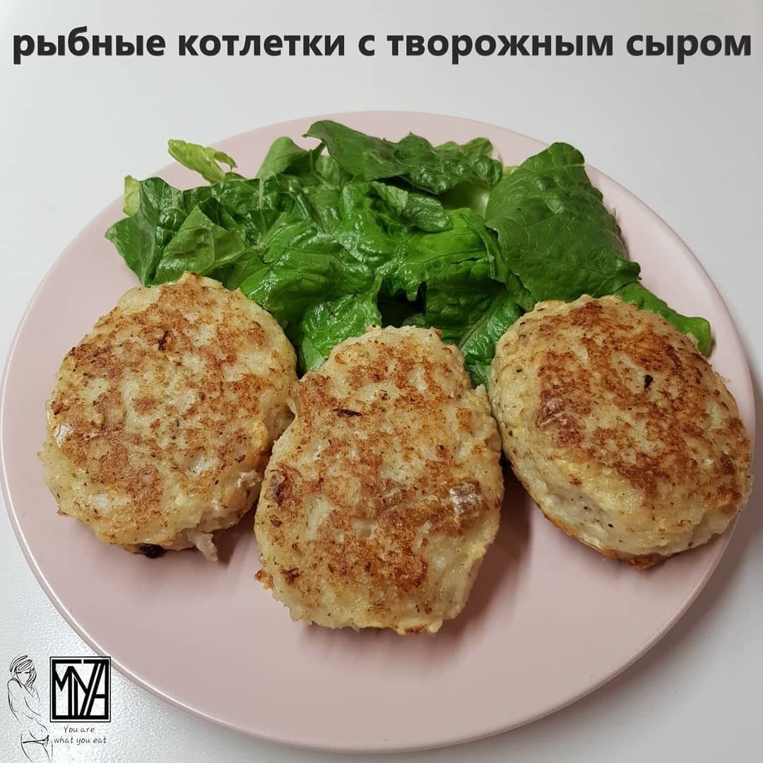 Рыбные котлетки с творожным сыром