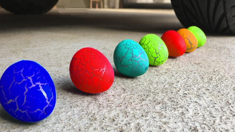 Experiment Car vs Rainbow Surprise Eggs | Crushing Crunchy Soft Things by Car