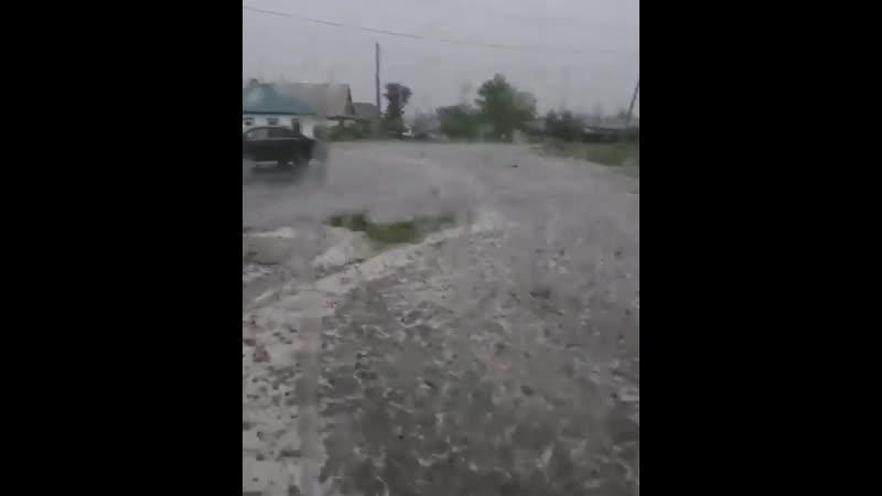 Дождь и град в Черногорске 24.06.2019