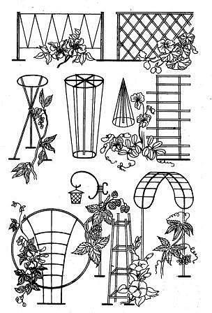 Деревянные опоры для цветов  Отличные идеи
