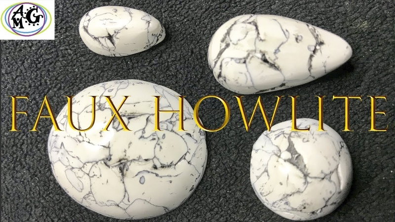 FAUX HOWLITE STONE CABOCHONS FROM POLYMER CLAY