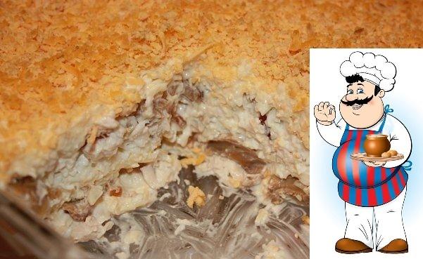 Салат Нежность Ингредиенты: Филе 2 грудок 4 яйца 200 гр.тверд.сыра 1 луковица 1 б. шампиньонов резаных Майонез Приготовления: 1.Луковицу порезать и обжарить с шампиньонами из банки, куриное