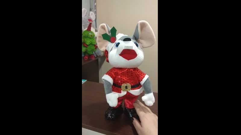 Мыша в новогоднем костюме двигается и поет 2 песни - 850 руб