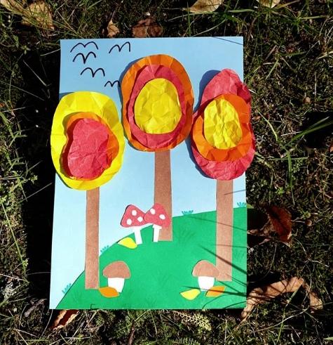 ОСЕННЯЯ АППЛИКАЦИЯ ИЗ БУМАГИ ОсеньНас радуют осенние яркие деньки - природа украшается разноцветными листочками и погода не подводитПростая аппликация с осенними деревьями понравится детям. Для