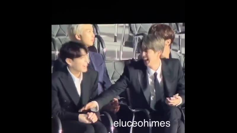 There's an hd fancam of jinkook having a thumb war at an award show and that's that.