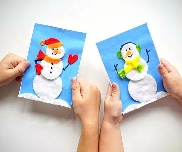 НОВОГОДНИЕ ОТКРЫТКИ ДЛЯ ДЕТЕЙ. Милые новогодние открытки со снеговиками, сделанными из ватных дисков, фетра и раскрашены