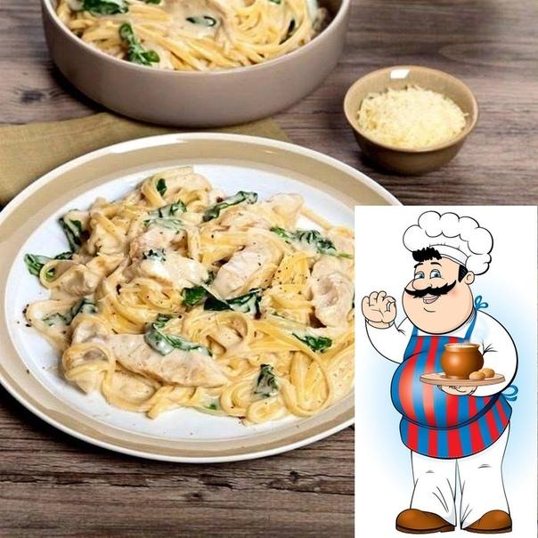 Спагетти с курицей в сметанном соусе