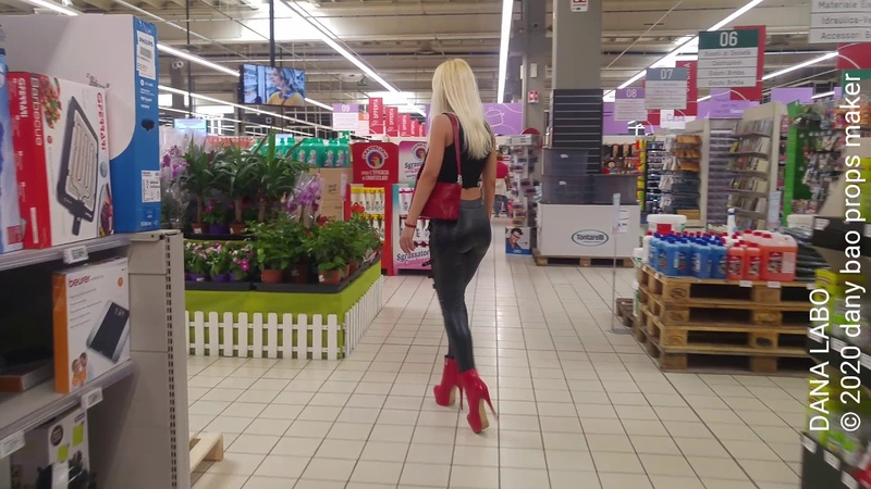 DANA LABO walking in gothic pvc leggings and shiny boots