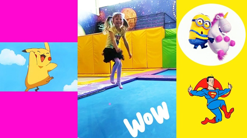 Сhildren's birthday party at the trampoline center Jumping Surprise with SuperMan Pikachu Minion