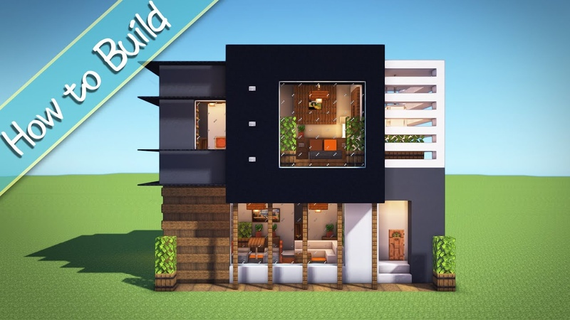 OSHACRA Part90 How to build a compact modern house おしゃクラ!コンパクトモダンハウスの作り方 Minecraft