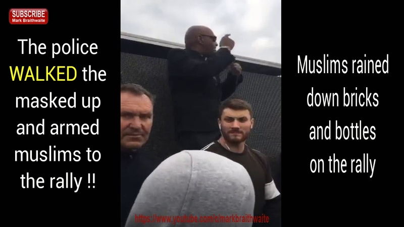 Tommy Robinson in Oldham The police escorted masked and armed muslims to our rally