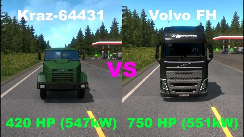420HP vs 750HP Kraz 64431 vs Volvo FH Globetrotter XL Trucks comparison Euro Truck Simulator 2