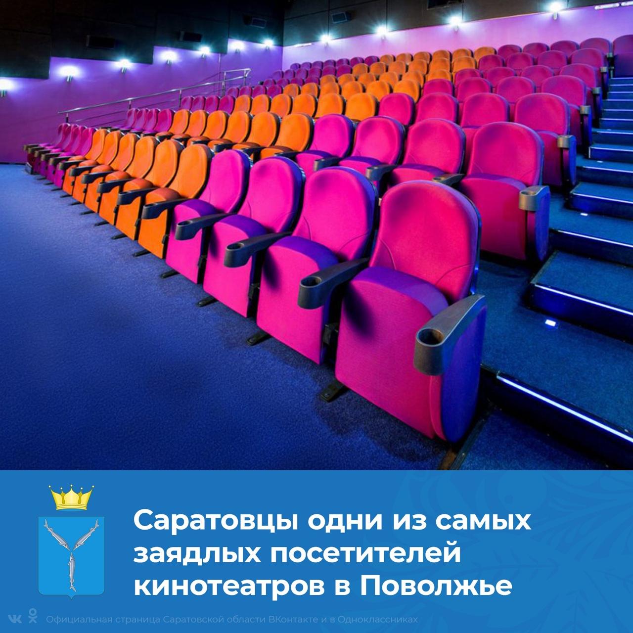 Саратовская область по итогам 2020 года стала четвертой в рейтинге посещаемости кинозалов Приволжского федерального округа, переоборудованных в рамках национального проекта Президента РФ «Кул