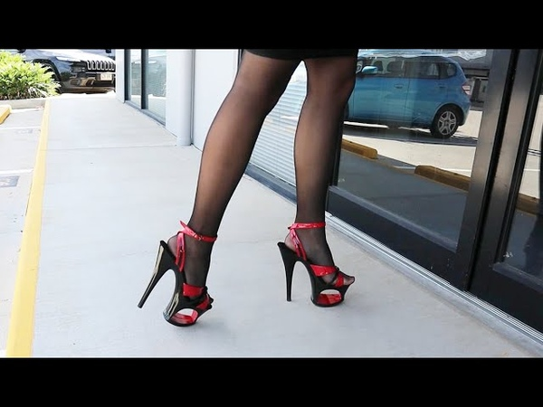 Review Pleaser-MOON-728 Red Black Two Tone 7 Inch High Heel Shoes With Cut Out Platform with Catie