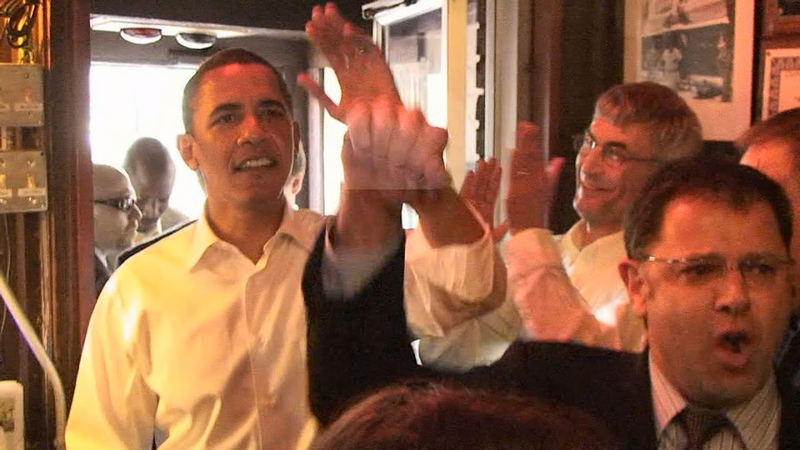 Obama at Nicks English Hut 2008