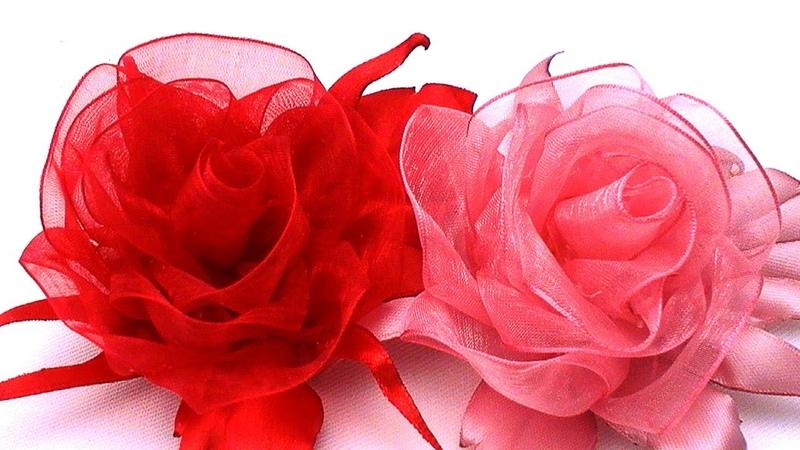 Kanzashi ORGANZA ROSE Роза из Органзы МК