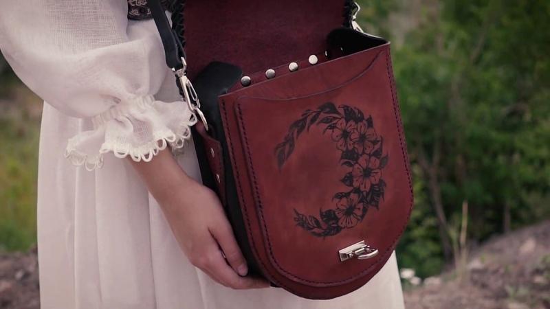 Leather bag Celtic Handmade Brown Leather Shoulder Bag Woman Gift Bag Middle Size Hand Bag