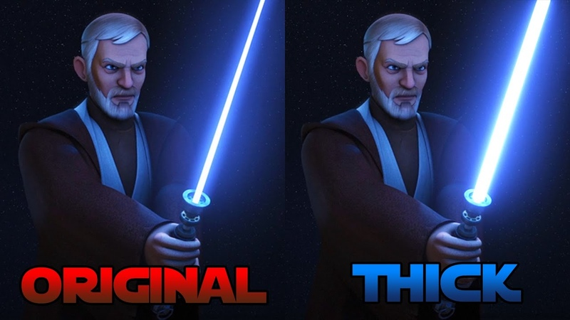 Obi-Wan vs Maul with Thick Lightsabers Compared to the Original