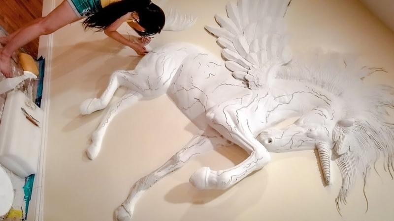 🦄 INCREIBLE Drywall art sculpture bas relief UNICORN wall decor