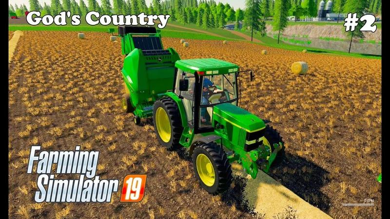 Farming Simulator 2019 God's Country Bales of straw grain harvesting 2